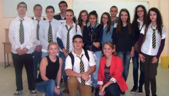 Erika Sanders with Bulgarian Students