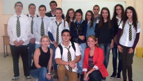 Erika Sanders with Bulgarian Students