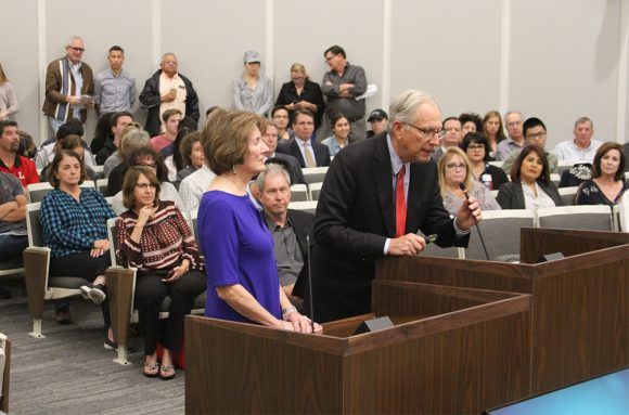 Mark and Janet Hilbert thank the Orange City Council and address the assembly during proclamation presentation on November 13.