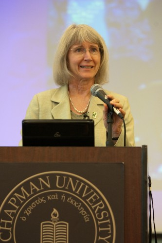 Eugenie Scott speaking at Chapman University. (File photo, 2010)