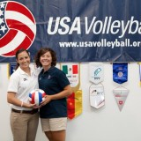Alicia Tate '13, left, and Brittany Bergens '13, interned with USA Volleyball this summer.