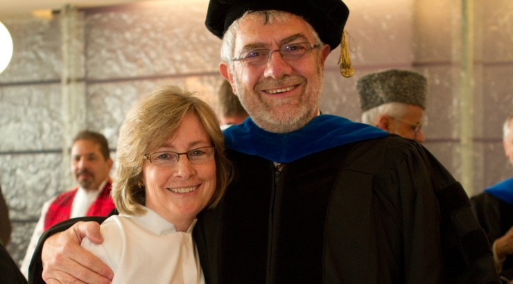 Dr. Gail Stearns is joined by Chancellor Daniele Struppa at her installation as dean of the Fish Interfaith Center, Wallace All Faiths Chapel.
