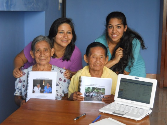 Professor Pilar Valenzuela and Priya Shah '13, in back, with Emerita Guerra and Julia Inuma, two Shiwilu speakers who shared their knowledge of the Amazonian language.
