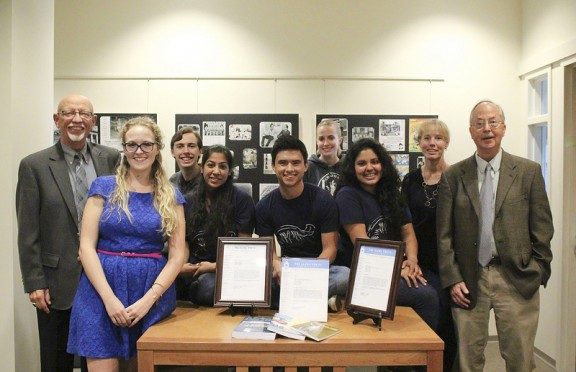 Gathered at Leatherby Libraries to celebrate the Voces Novae's third Nash Prize are, from left, Professor William Cumiford, Erika Carroll, David Wells, Priya Shah, Fernando Amador, Molly Iker, Erika Aguilar, Professor Jennifer Keene, and Professor Leland Estes.