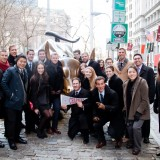 "Finance students in this winter's ""Walk on Wall Street"" travel course were joined by Dean Reggie Gilyard, pictured at far left."