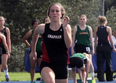 Freshman Lauren Deats dashes into the Chapman University record books at SCIAC Multi-Dual meet.