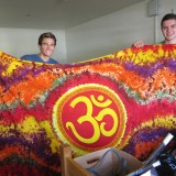 Connor Reed, right, of Placerville, and roommate Sam Baldridge display Reed's om tapestry he brought from home.