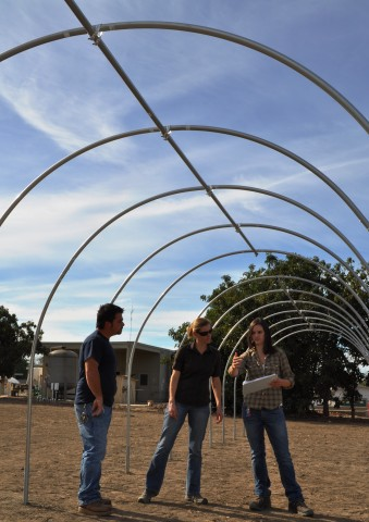 Assistant Professor Jennifer Funk, center, works with Chapman research technician Julie Larson and UC senior farm maintenance engineer Chris Martinez at the greenhouse site where they will observe the impacts of climate change on plants.