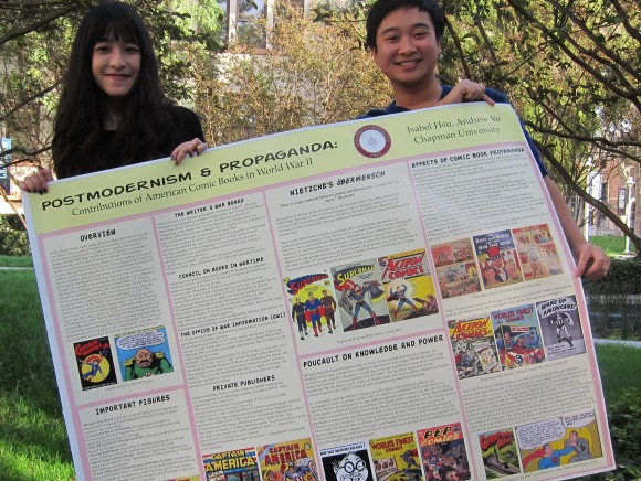 Researching the portrayal of super heroes during World War II-era comics turned into a super win for Isabel Hsu '15 and Andrew Vo '15 at a national competition.