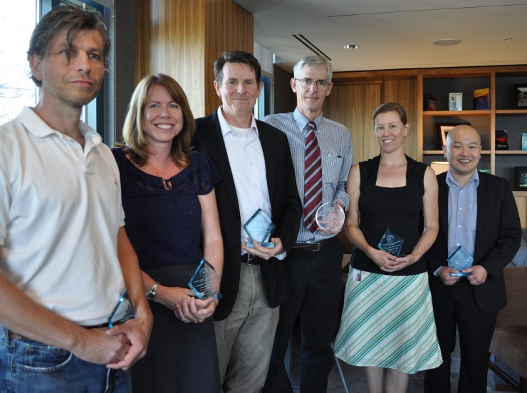 Faculty honored at the Thursday, May 1, Faculty Research Recognition Reception include, from left, Gabriele Camera, Laura Glynn, John Benitz, Walter Piper, Jennifer Funk and Kerk Kee.