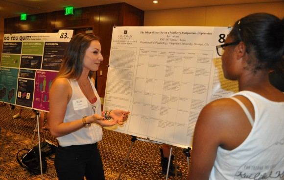 Among the presenters was psychology major Itzel Anaya '14 whose research found that moderate -- but not extreme -- physical exercise helps reduce postpartum depression.