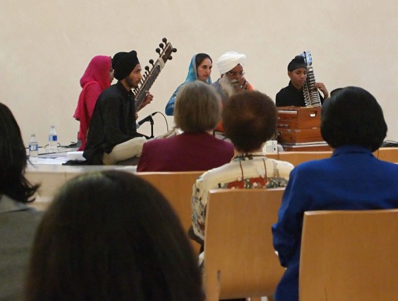 Fish Interfaith Center audiences watch a performance of traditional Sikh hymns.
