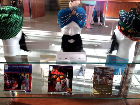 A special turban exhibit and book display on Sikhs and Sikhism on the first floor of Leatherby Libraries.