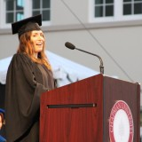 Hannah Skvarla '10 speaking at Senior Convocation 2014.