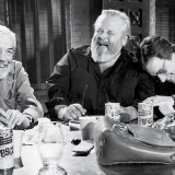 "John Huston, Orson Welles and Peter Bogdanovich during filming of ""The Other Side of the Wind"""