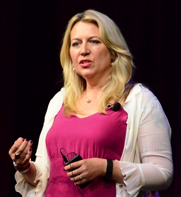 """Wild"" author and long-distance hiker Cheryl Strayed speaking at Chapman University tells her audience that they can 'bear the unbearable.'"