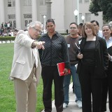 Professor Emeritus Jim Miller leads a campus tour in 2004.