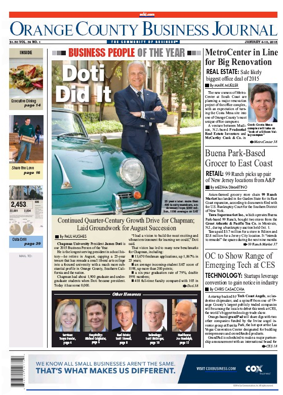 OCBJ cover story honors Chapman President Jim Doti as OC's Business Person of the Year.