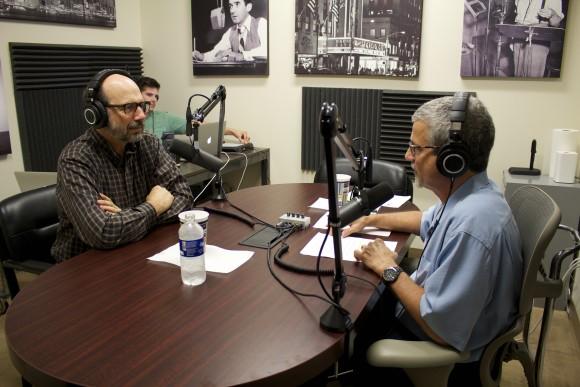two men talking on radio