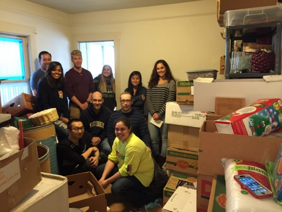 students in a room of boxes