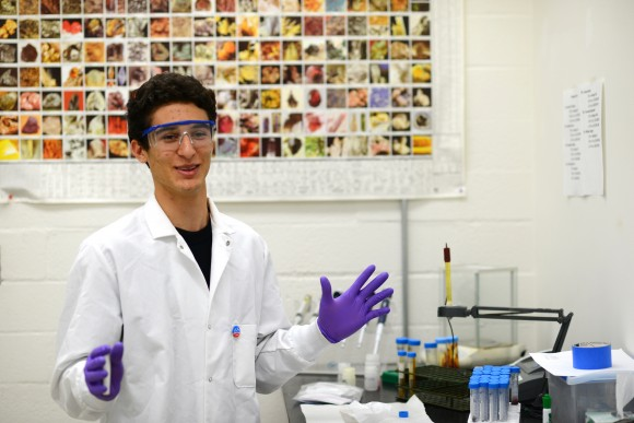 student in science lab