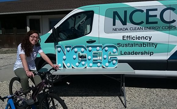 Jennifer Feinstein '14 helped build the bicycle-powered marquee she and her team will use at a Nevada Earth Day celebration.