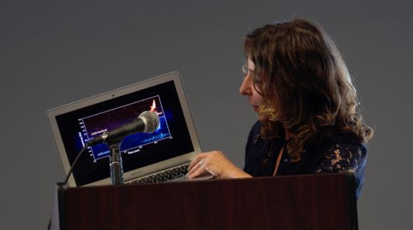 Janna Levin showing computer