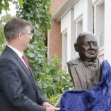 Unveiling the Churchill bust.