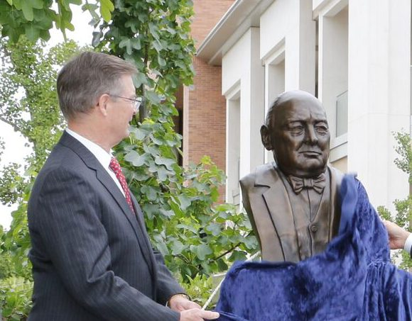 Naming Gift to Law Library Also Brings Chapman a Winston Churchill Bust