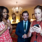 First Lady Michelle Obama holds Snapchat media time with Press Secretary Joanna Rosholm and Senior Video Producer Duncan Wolfe in the Map Room of the White House, June 21, 2016. (Official White House Photo by Amanda Lucidon)  This official White House photograph is being made available only for publication by Chapman University. The photograph may not be manipulated in any way and may not be used in commercial or political materials, advertisements, emails, products, promotions that in any way suggests approval or endorsement of the President, the First Family, or the White House.