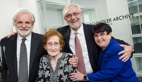 From left: donor David Crowe, Ph.D.; Schindler's list survivor Mila Page; Chapman President Daniele Struppa, Ph.D., and Marilyn Harran, Ph.D., Stern Chair in Holocaust Education at Chapman, at the dedication of the Oskar Schindler Archive on Nov. 10.