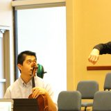 Hank Dutt of the Kronos Quartet coaches a Chapman student quartet.