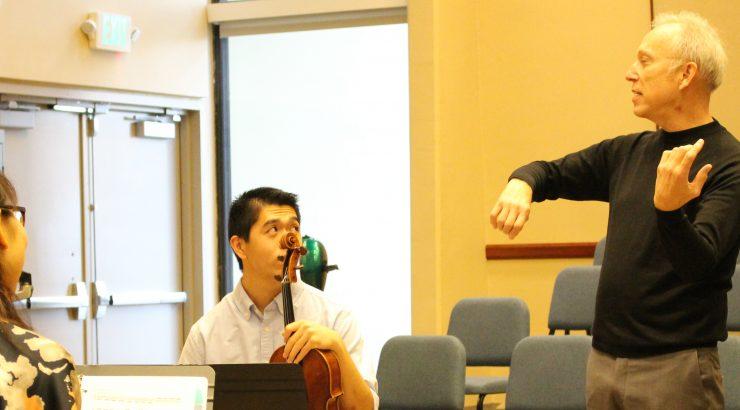 Hank Dutt of the Kronos Quartet coaches a Chapman student quartet.