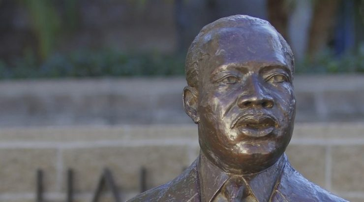 Martin Luther King Jr. bust on Chapman University campus.