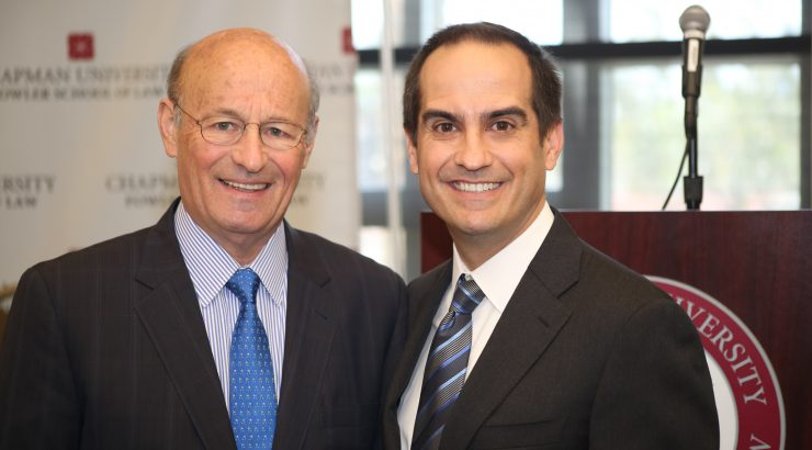 Dodgers President and CEO Stan Kasten, Fowler School of Law Dean Matt Parlow, 2017 Entertainment and Sports Law Symposium