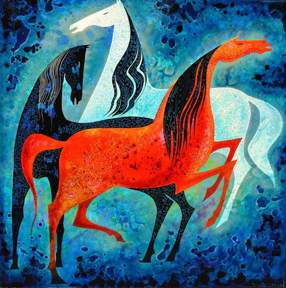 """Eyvind Earle, """"Three Noble Horses,"""" 1993, oil. Gift of the Earle Family Trust to the Hilbert Museum."""