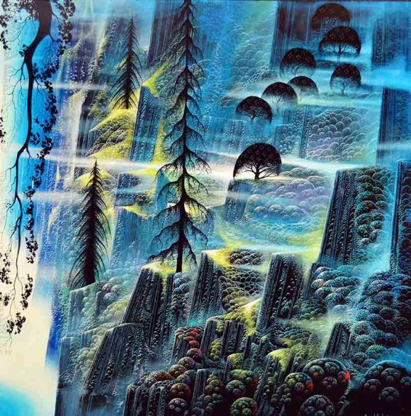 """Eyvind Earle, """"Where Eagles Fly,"""" 1993, oil. Gift of the Earle Family Trust to the Hilbert Museum."""