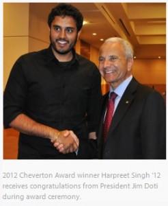 2012 Cheverton Award Winner Harpreet Singh shaking hands with President Jim Doti during award ceremony