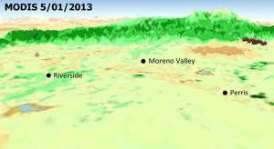 Computer rendering map of Riverside, Moreno Valley, and Perris