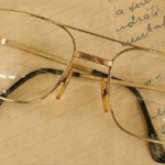 Eye glasses on a notebook
