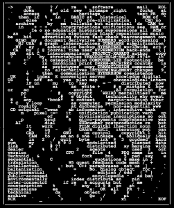 Ted Nelson portrait made out of text and words