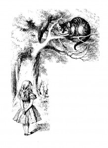 Alice in Wonderland looking up at the Cheshire Cat sitting in a tree