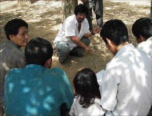 Tsimane man telling a story