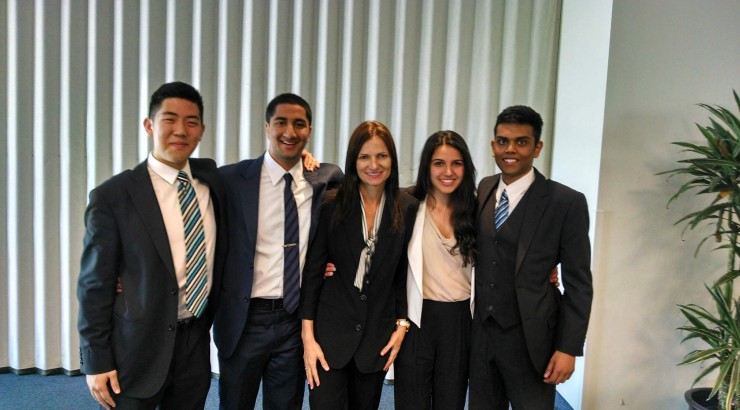 business students together smiling
