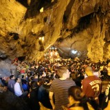 group of students in Vietnam cave