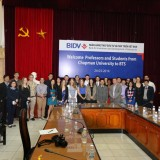 group of students in Vietnam conference room