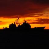 military boat at night