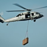 helicopter with package