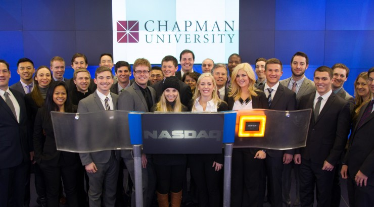business students in group at Nasdaq