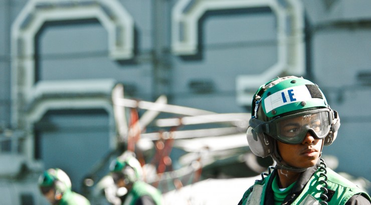 soldier on air craft carrier